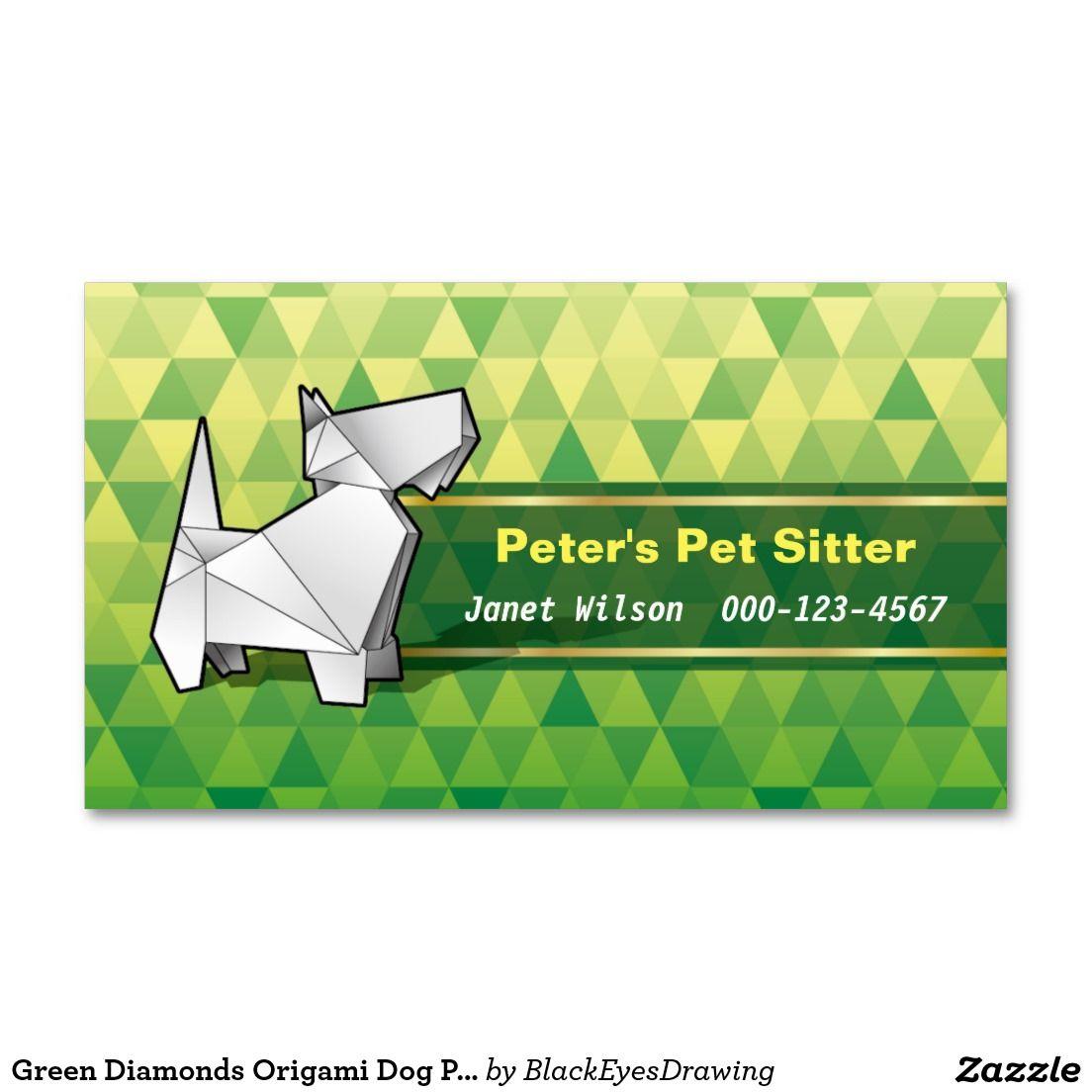 Green Diamonds Origami Dog Pet Sitting Service Business Card | Pet ...