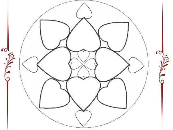 Mandalas Para Pintar Animal Bordeado De Paisaje On: Mandala De Corazones Para Pintar