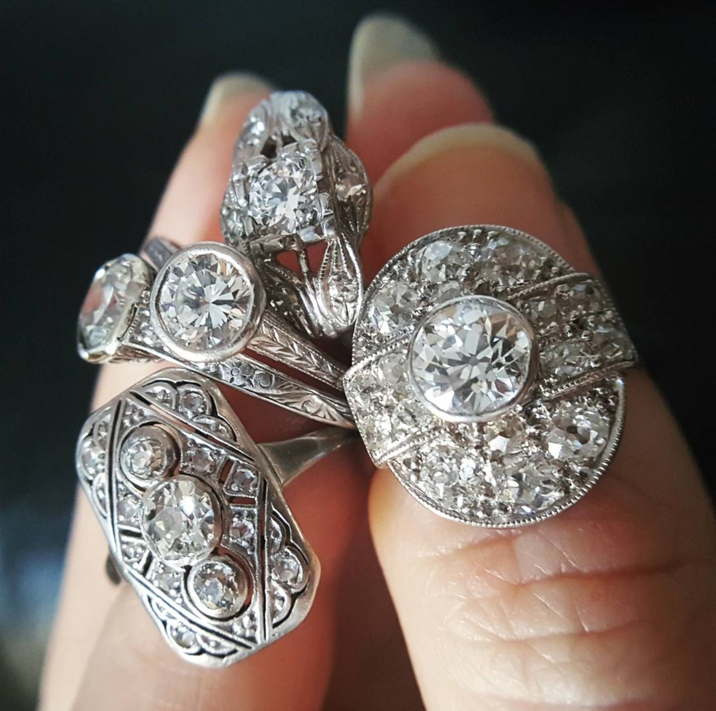 art deco rings set image diamond a platinum ring bands style from engagement