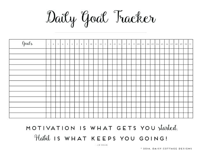 Habit Tracker Template Unique Daily A Printable Goal Daisy Cottage ...