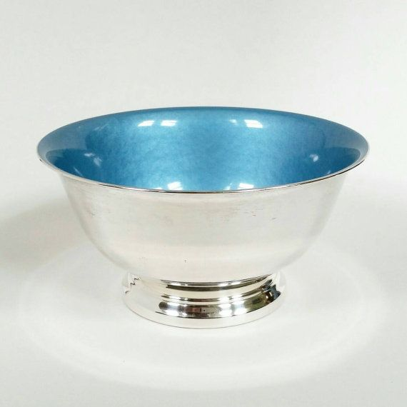 Mid Century Light Blue, Enamel and Silverplate, Small, Round Bowl Dish by Reed & Barton, #101, sky blue, teal, paul revere style