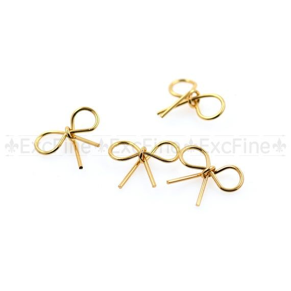 Tiny Bow Stud Charms,Gold Plated Minimalist DIY Jewelry Findings,Little Wedding Ribbon Charms 11x10m