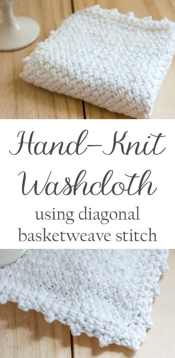 Knit a Diagonal Basket Weave Washcloth | Strikk | Pinterest