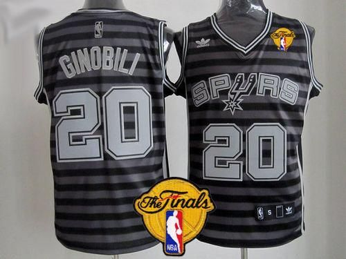 f342970326a5 Spurs  20 Manu Ginobili Black Grey Groove Finals Patch Stitched NBA Jersey