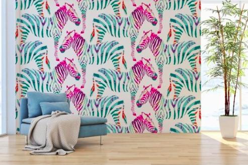 Pinky Zebra Removable Wallpaper Wall2stick Removable Wallpaper Zebra Wallpaper Pink And Grey Wallpaper