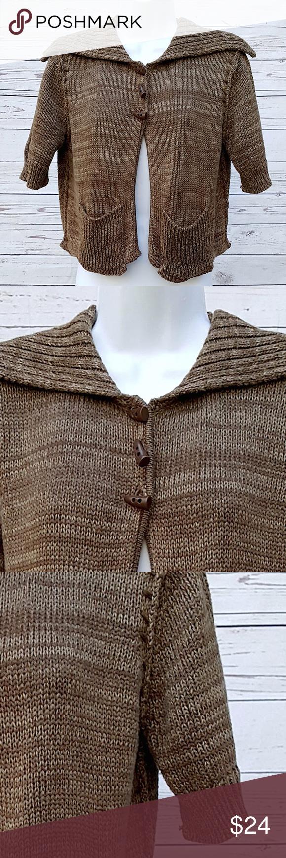 Athleta heathered brown crop sweater w/pockets Athleta heathered ...
