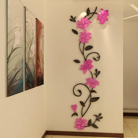 Rose flower Acrylic Mirror 3d DIY art wall stickers