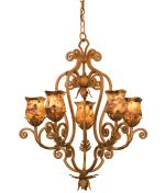 2,247.00 Kalco 3236TN-1313 Wellington  Traditional Single Tier Chandelier in Tuscan Sun with Gold-Streaked Amber glass from the Wellington Collection by Kalco. Dimensions: 30.00 H 28.00 W