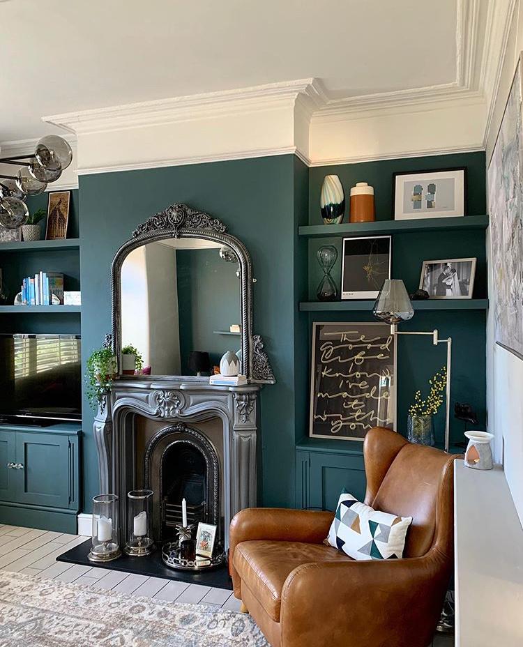 Pin By Nancy Van Dop Kuzma On Living Room Blue Walls Living Room Feature Wall Living Room Dark Green Living Room
