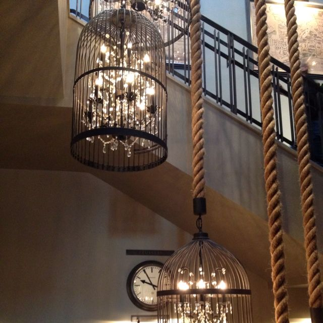 Chandelier Inside Bird Cage With An Awesome Rope Hanging
