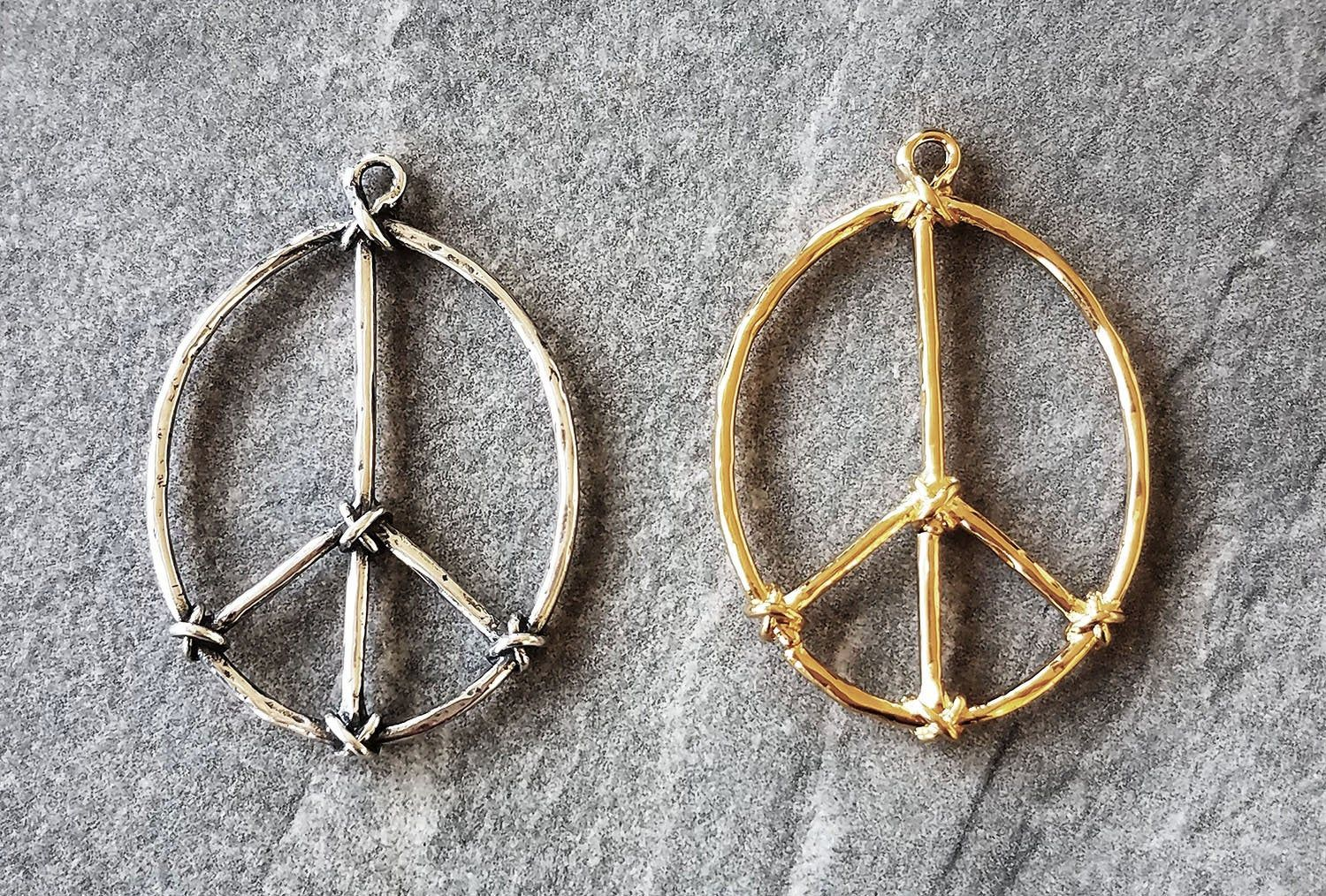 Unique Large Sterling Silver Or Gold Vermeil Peace Sign Charm Etsy Gold Vermeil Jewelry Sterling Silver Earrings Studs Gold Vermeil