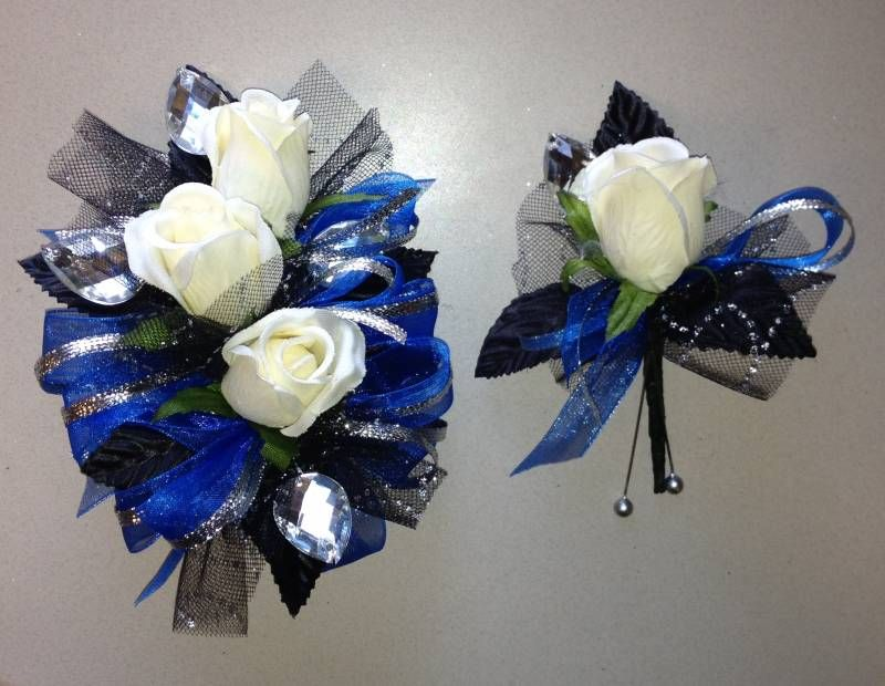royal blue prom corsage black and white top wedding