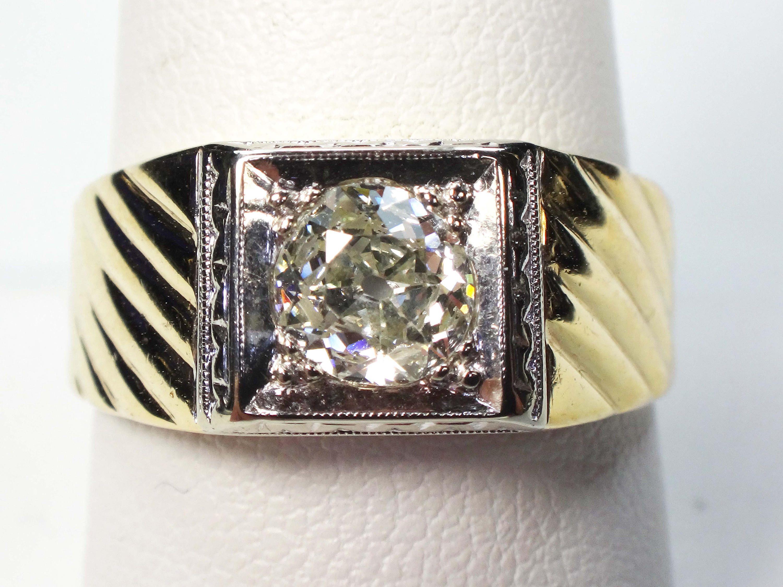 8b20d4af95fe2 $1,350 --- Vintage Mens Diamond Ring Old Mine Cut Diamond Ring Gents ...