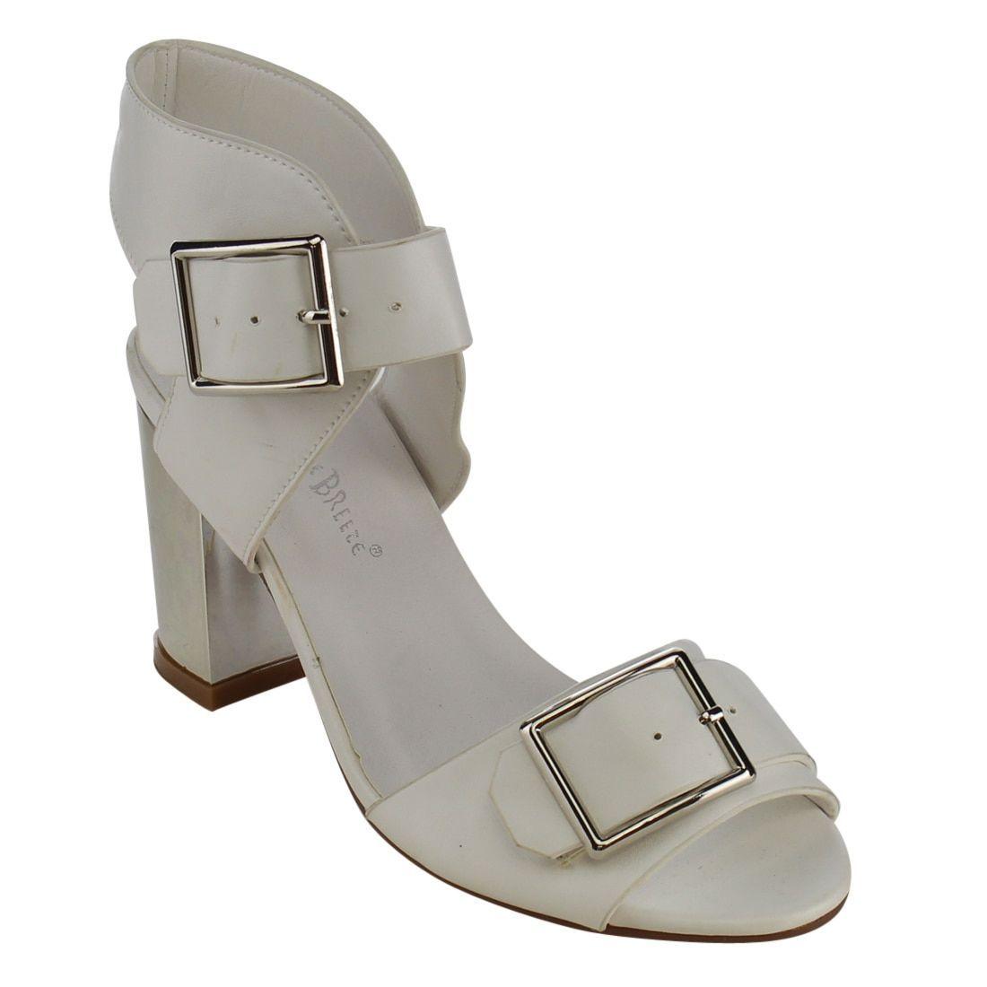 Nature Breeze Women's FG76 Buckled Strap Chunky Block Heel Sandals