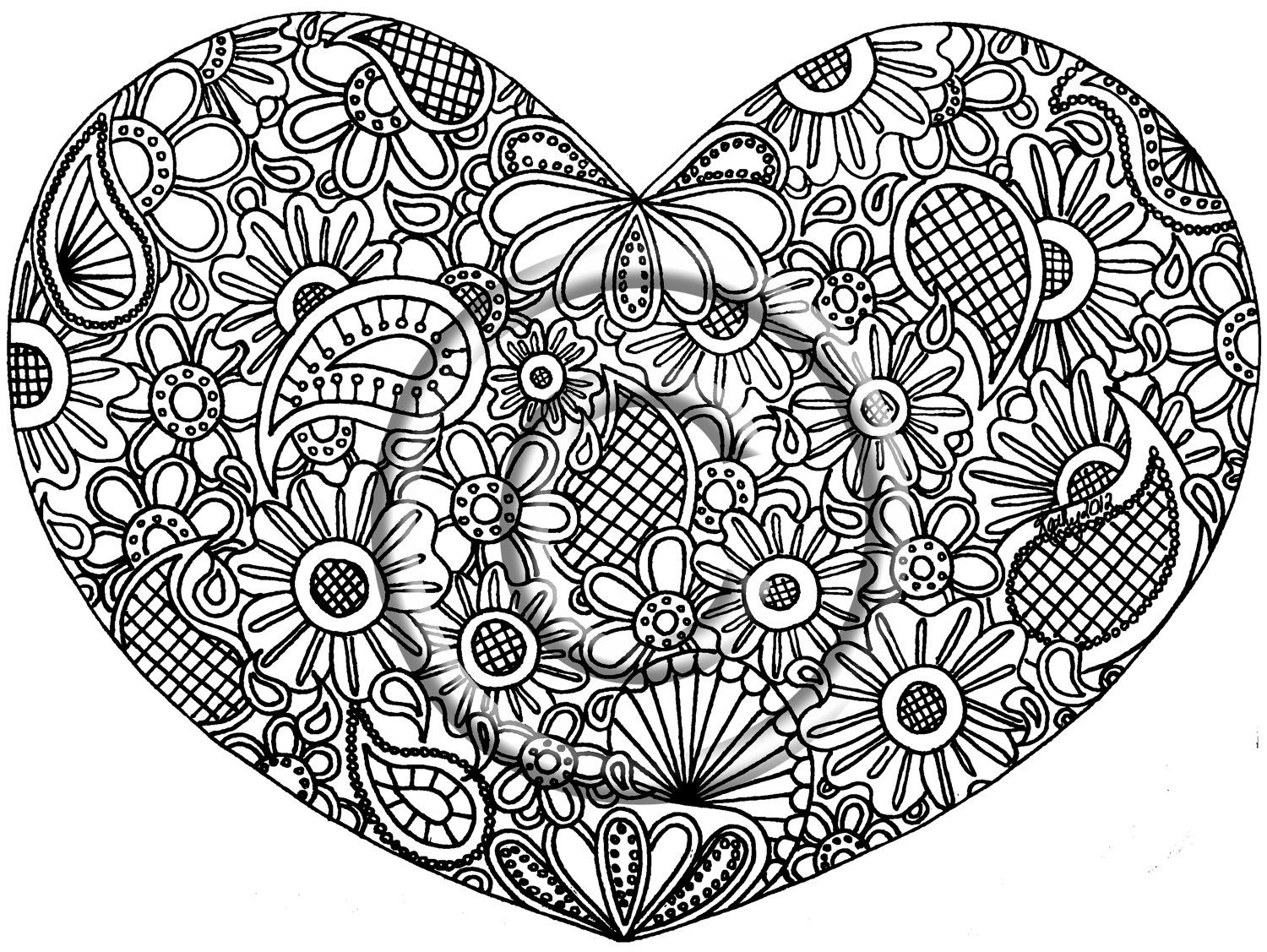Printable Download Coloring Page, Hand Drawn Zentangle Inspired ...