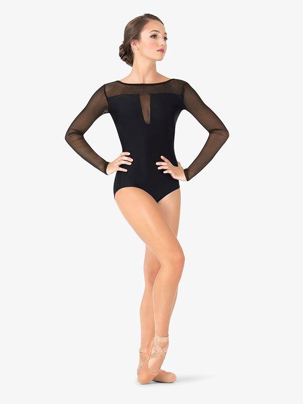 Womens Striped Mesh Long Sleeve Leotard   Mesh long sleeve ...