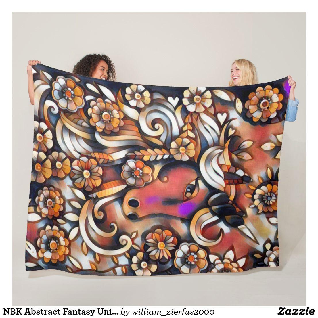 Nbk abstract fantasy unicorn fleece blanket blanket