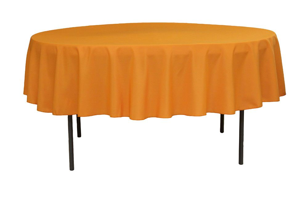 Polyester 90 Inch Round Tablecloth Orange At CV Linens