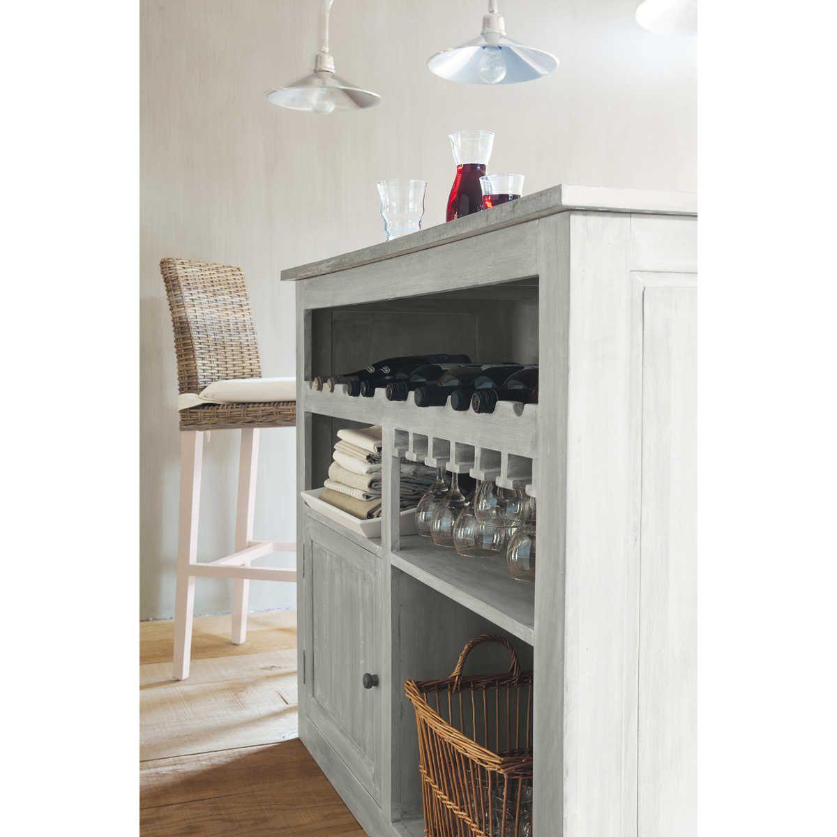 Meuble de bar en hévéa gris L 132 cm Zinc   Maisons du Monde   DIY ...