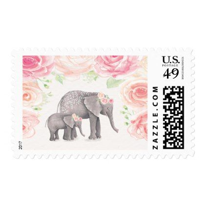 Mama and baby elephant floral postage stamps baby elephants negle Image collections