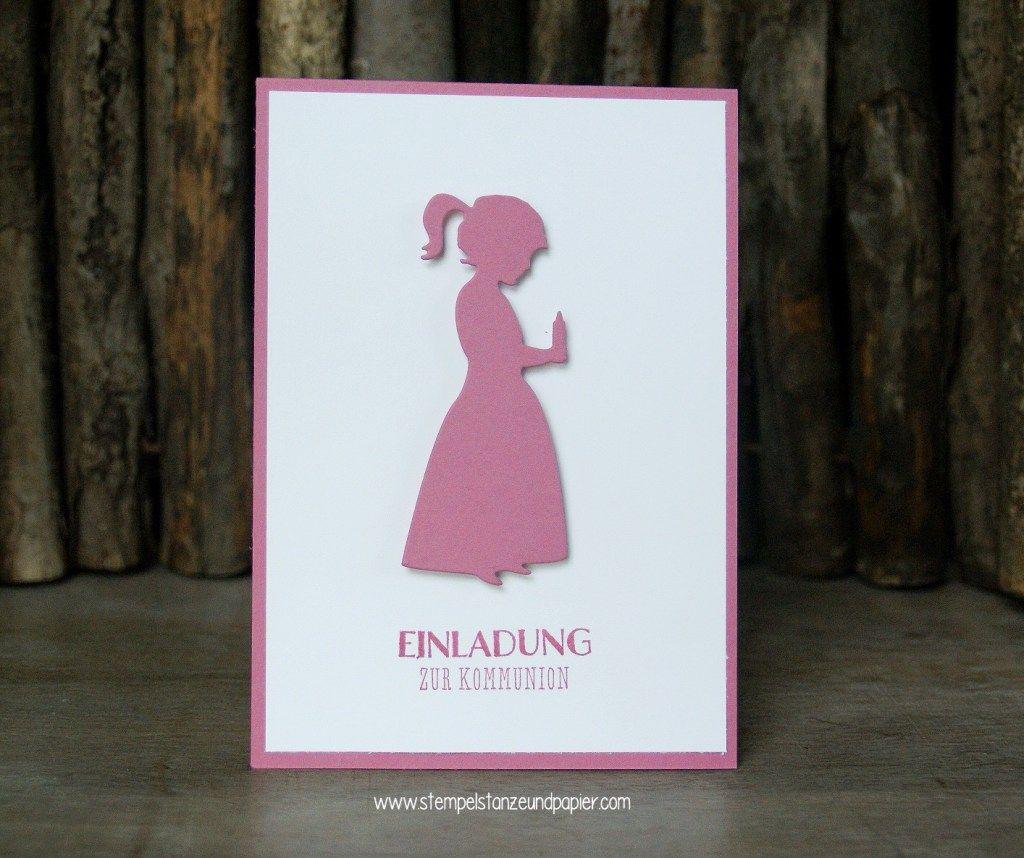 Diese wunderschöne einladugskarte zur kommunion eignet sich perfekt für kleine mädchen die silhouette des kerzentragenden