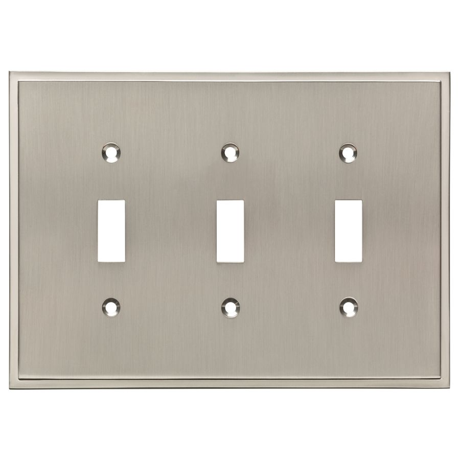 Wall Plates Lowes Brainerd Simple Steps 3Gang Satin Nickel Triple Toggle Wall Plate