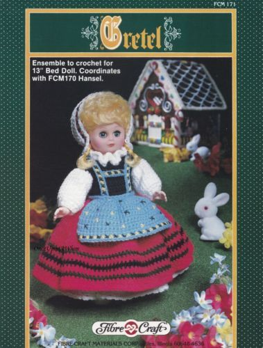 Gretel Fibre Craft 13 Inch Doll Clothes Crochet Pattern Booklet