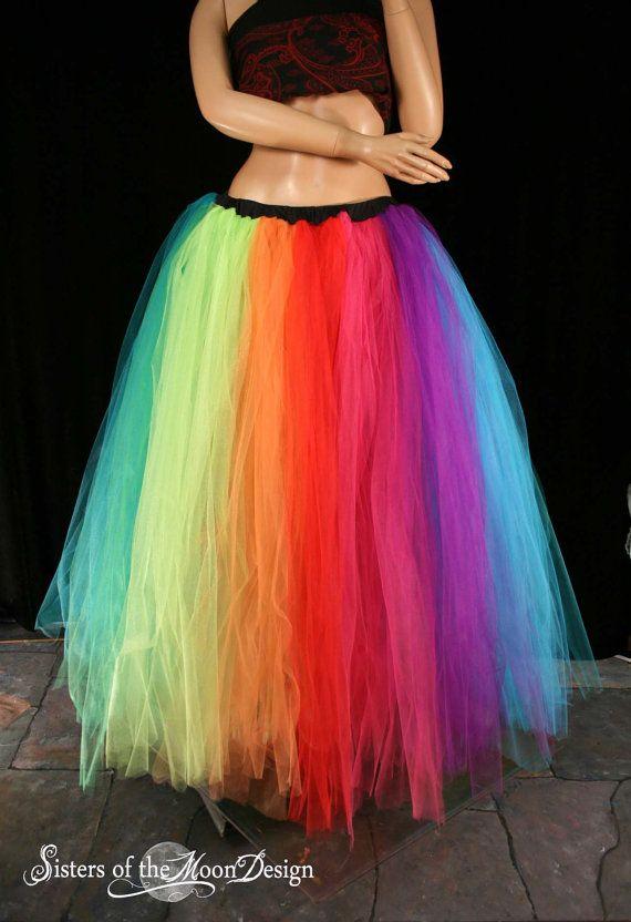 0d5d2e9abb Rainbow tutu tulle skirt Streamer floor length formal pride fairytale  wedding bridal costume carnival -You Choose Size- Sisters of the Moon