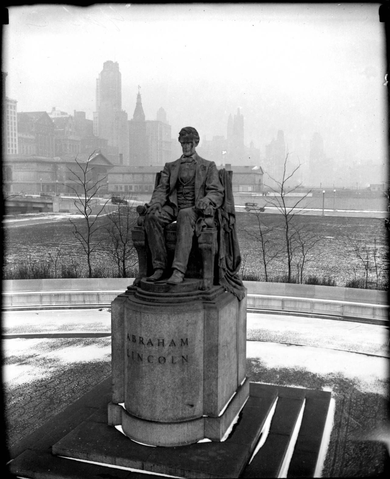 'The Seated Lincoln' monument during winter at Grant Park