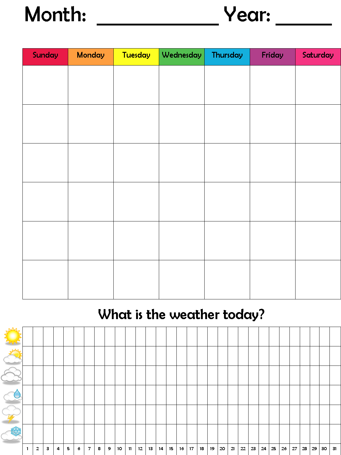Preschool Calendar Amp Weather Graph Weather