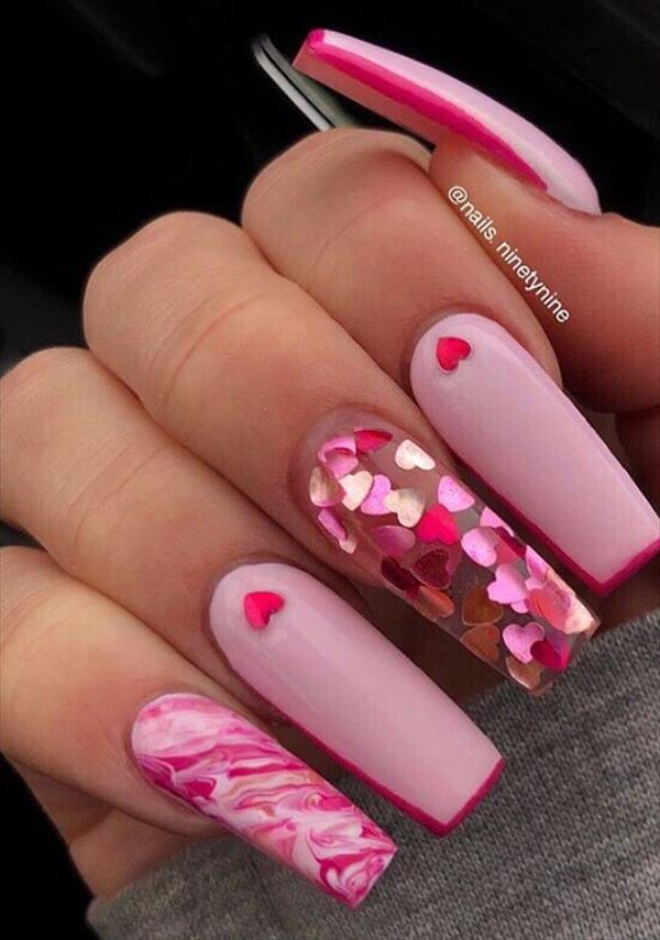 23 Romatic Heart Manicure Nails Design For Valentine S Nails Coffin Nails With Heart In 2020 With Images Heart Nail Designs Heart Nails Coffin Nails Designs