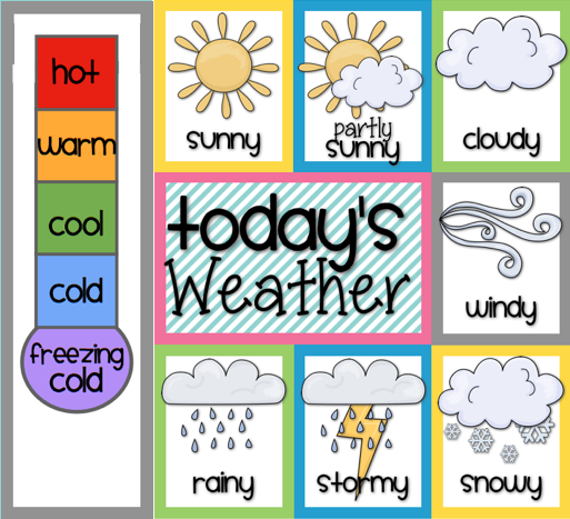 Children S Calendar Weather Chart : Bits of first grade freebie weather homeschool
