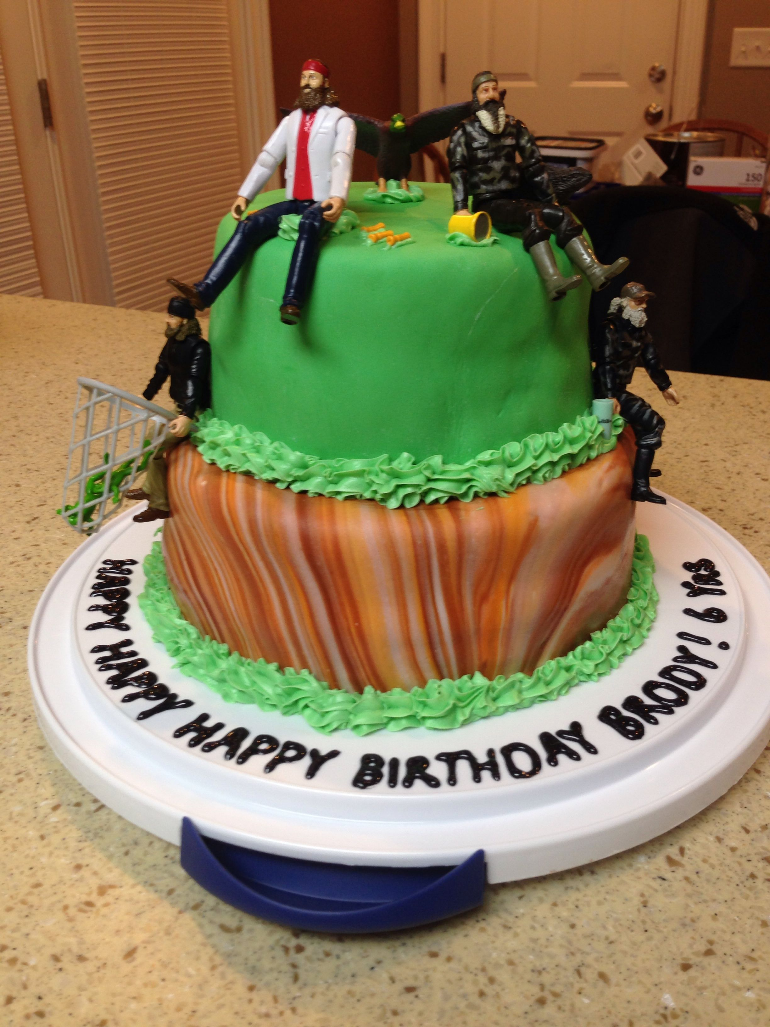 My 6 year olds birthday cake this year, duck dynasty cake!!!
