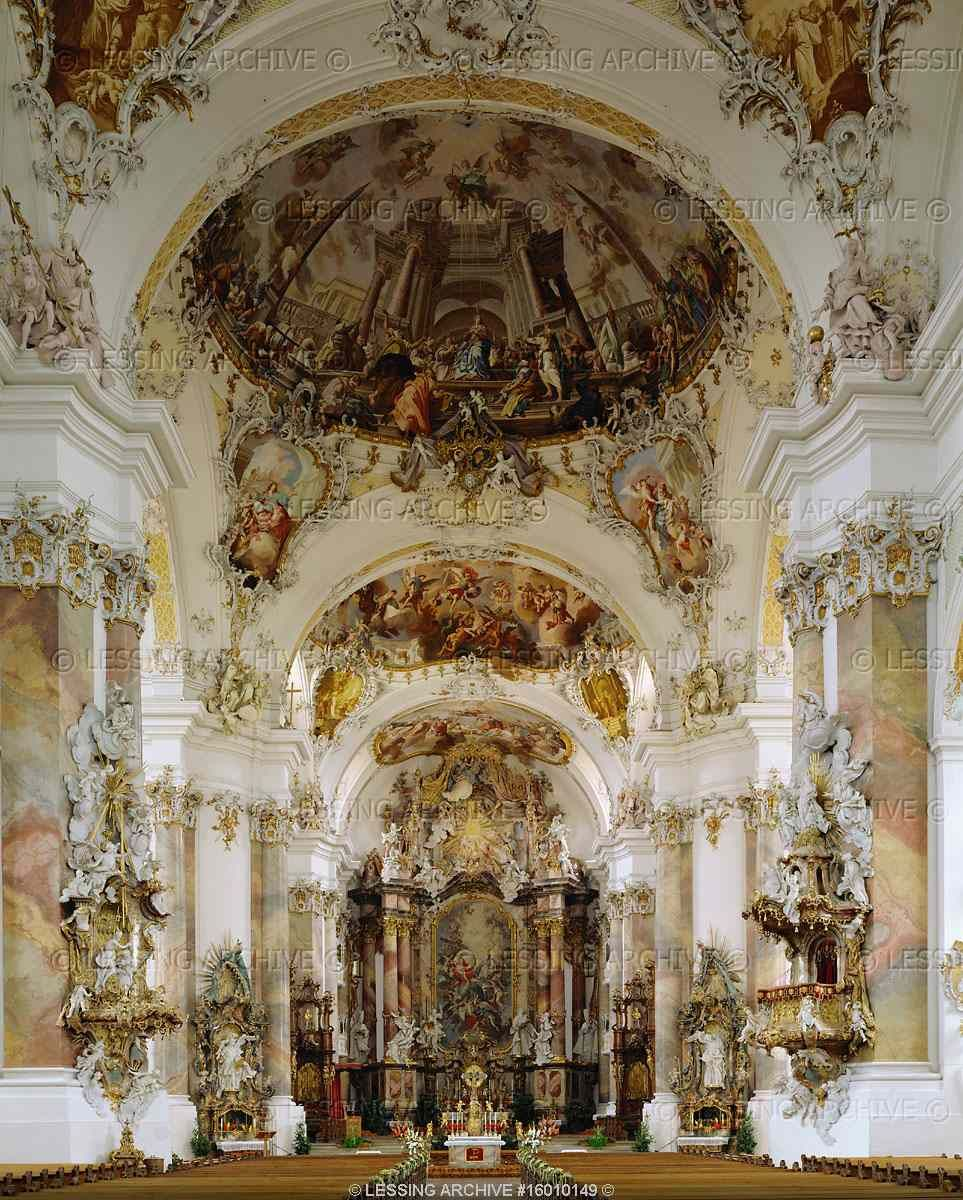 Baroque architecture interior of the church to the holy for Baroque style church