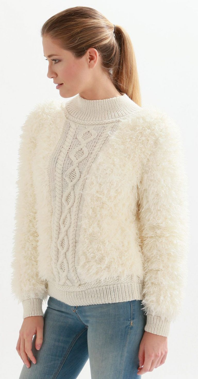 Free Knitting Pattern for a Fluffy and Cable Panel Sweater   tejidos ...