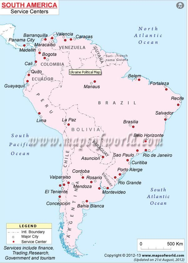 Map Showing Location Of Service Centers In South America Continent - Map 0f argentina