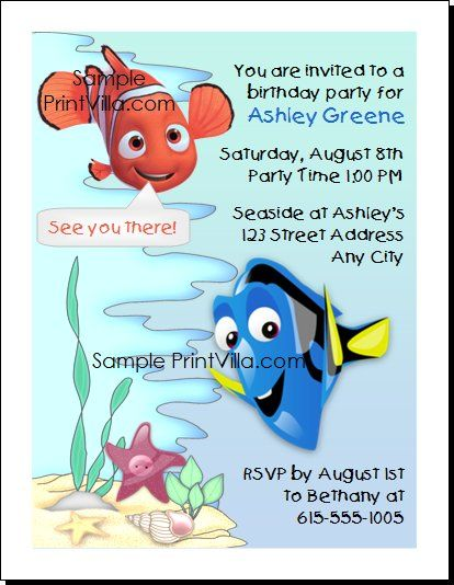 Finding Nemo Birthday Party Invitation For the Hostess in Me