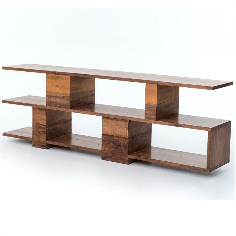 Wonderful Four Hands Bina Ginger Rustic Modern Wood Console Table With Open Shelves  Inu2026