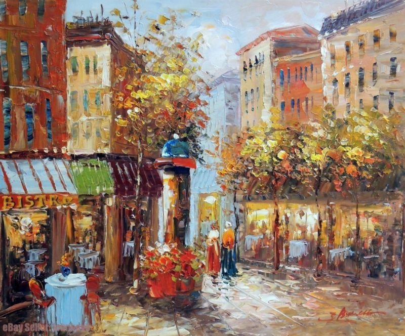 Painting Paris France Neighborhood Shops Cafes Table For Two