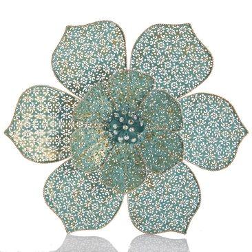 3d metal wall art flower mint green 71cm from earth homewares