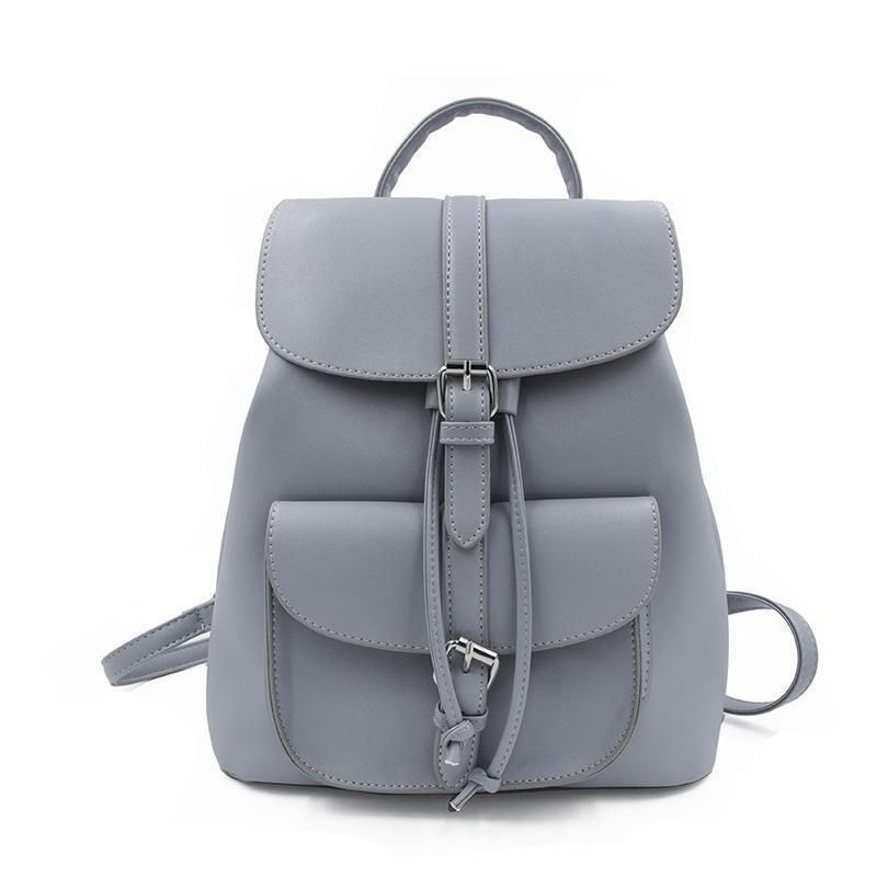 b329a690960 Drawstring PU Grey Leather Backpack in 2019 | Accessories ...