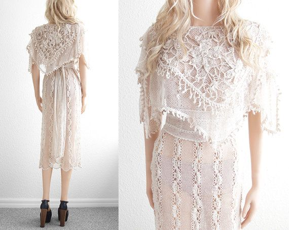 Vestido Branco de Renda Crochê Mulheres. / Dress White Lace Crochet Women.