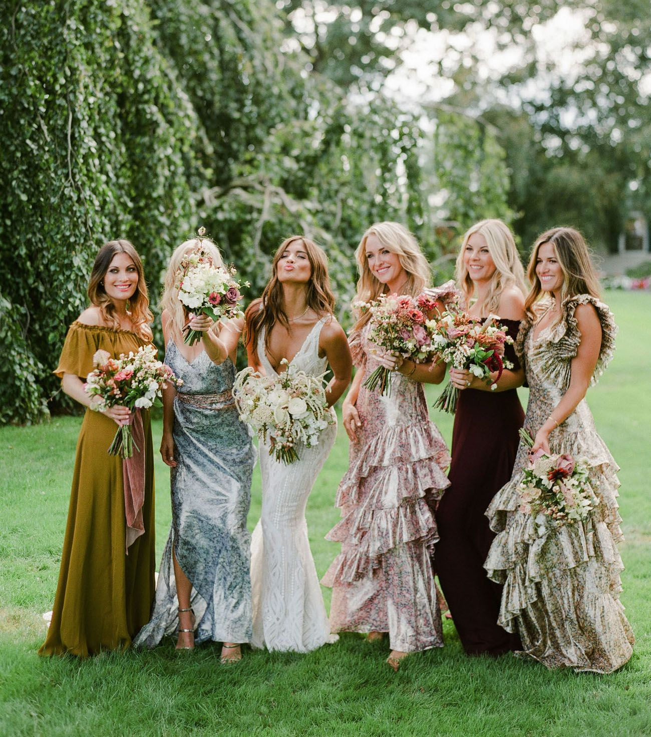All The Details Of Rocky Barnes Matthew Cooper S Seriously Stylish Dreamy Bohemian Wedding Green Wedding Shoes Bridesmaid Dresses Boho Printed Bridesmaid Dresses Bohemian Bridesmaid Dress