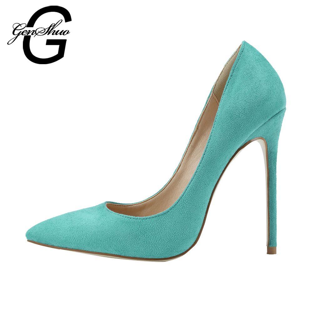 94ecce648b14 GENSHUO 2017 8 10 12CM Sexy Women s Fashion High Heels 2017 Fashion Faux  Suede