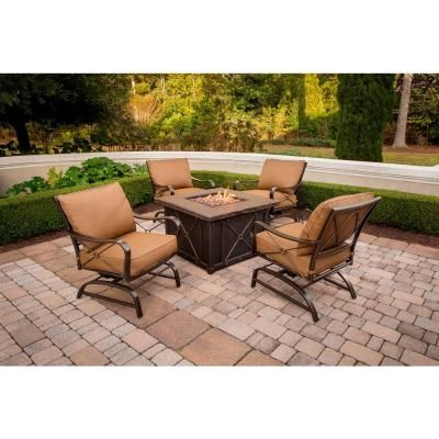 Hanover Summer Nights 5 Piece Patio Fire Pit Set With 4 Cushion Rockers And 40 In Square Fire Pit And Desert Sunset Cushions Summrnght5pc Fire Pit Patio Set Fire Pit Sets Fire Pit Patio