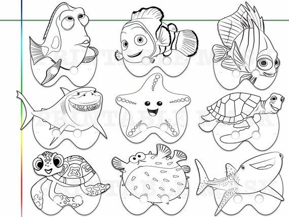 Finding Nemo Dory Printable Coloring Masks, kids costume