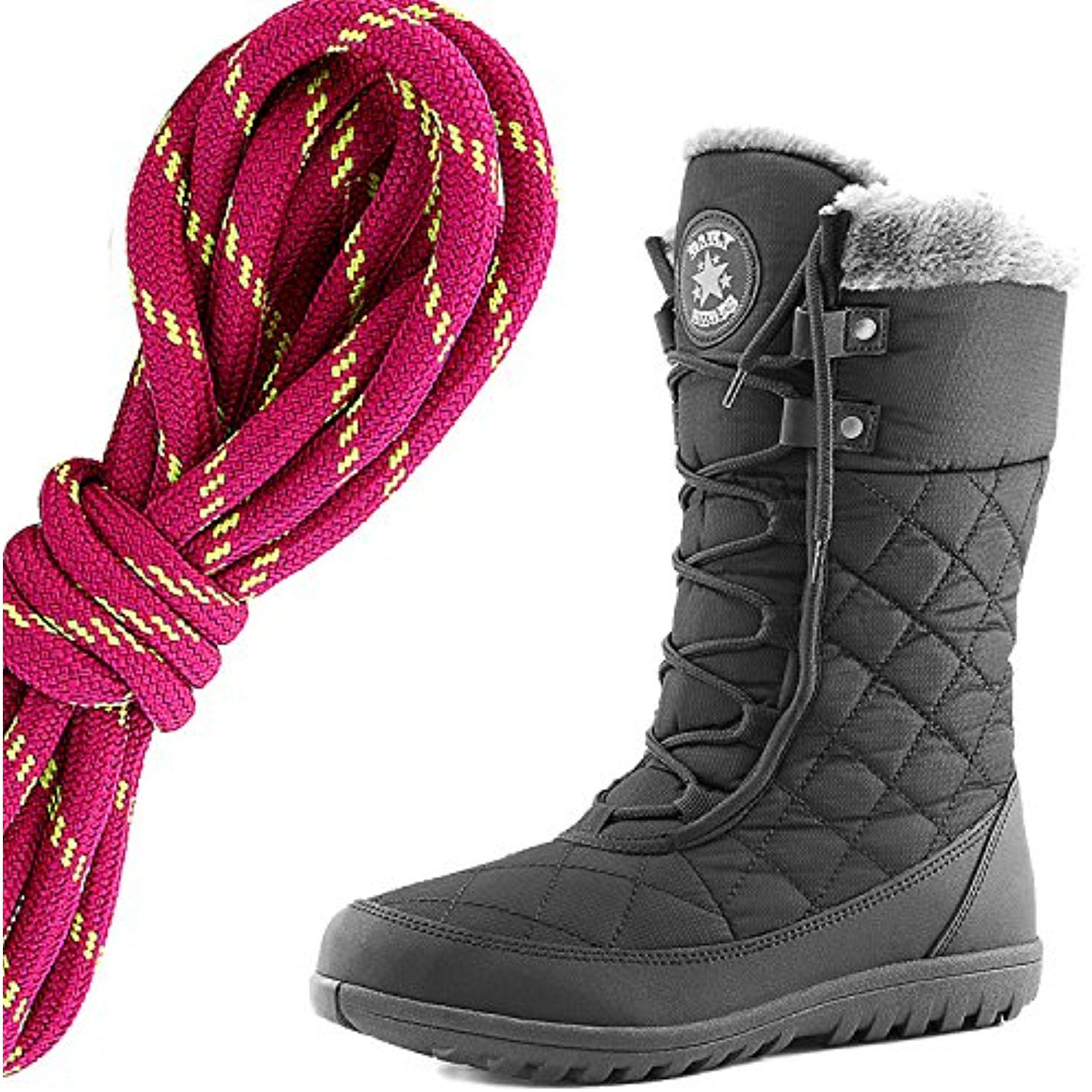 Women's Comfortable Round Toe Flat Ankle High Eskimo Winter Fur Snow Boots Hot Pink Lime