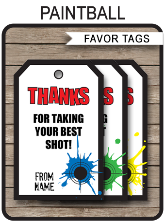 Paintball Party Favor Tags template in 2018 | Paint Ball Party ...