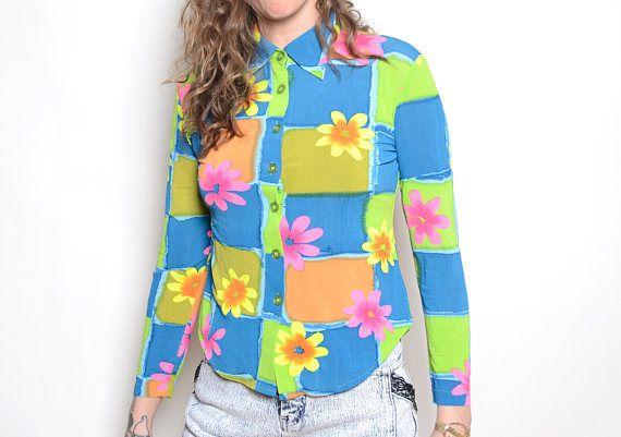 8264b8a28b Vintage 90 s Neon Floral Print Blutton Up Blouse Sz S