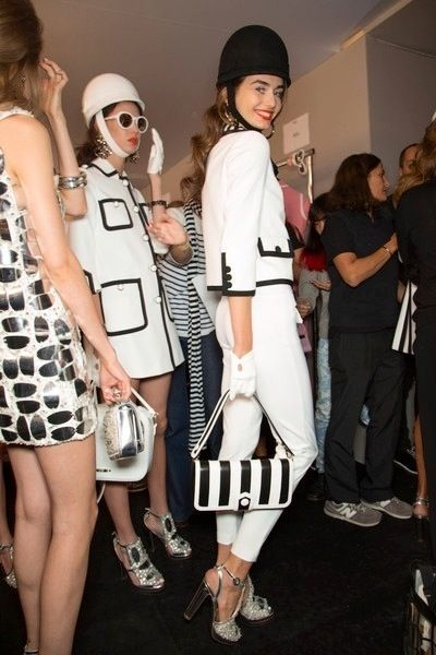 Ruby Aldridge and Andreea Diaconu Backstage at Moschino Spring 2013